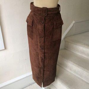 Ann Taylor Vintage Brown Suede Button Down Skirt